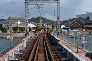 MIYAJIMA, JAPAN - FEB 04, 2018: Miyajimaguchi Train station to go Miyajima rabbit island ferry station