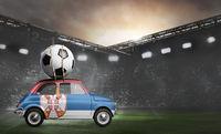 Serbia car on football stadium