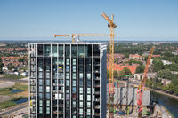 Aerial view construction site new apartment building Amsterdam, the Netherlands