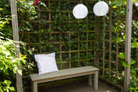 Wooden bench with the overgrown canopy in home landscaped garden in summer. Beautiful flower garden with paving path in backyard. Cozy natural landscaping.