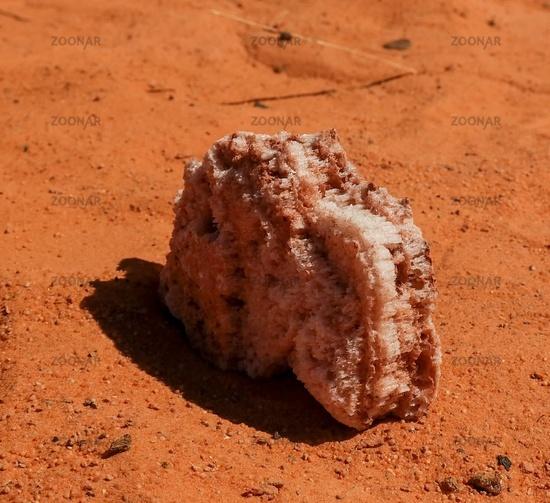 salt crystal in the Saline Demi dry lake, Fada, Ennedi, Chad