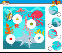 match pieces puzzle with sea animals group
