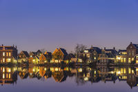 Amsterdam Netherlands, Night skyline of Dutch traditional house at Zaanse Schans Village