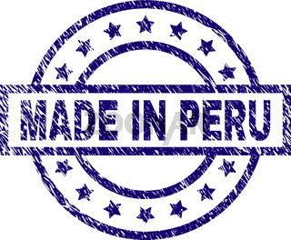 Scratched Textured MADE IN PERU Stamp Seal