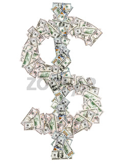American dollar money sign symbol shape by paper currency cash