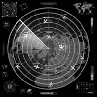 White military radar display with with planes traces and target sign on dark background