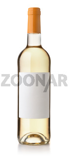 Front view of white wine bottle with blank label