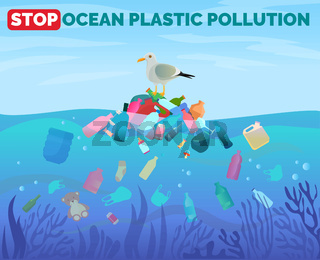 Stop ocean plastic pollution poster with pile of garbage in water