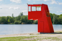 lifeguard station or tower at swimming lake in Germany