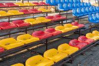 Seats at small city stadium