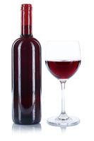 Weinflasche Weinglas Wein Flasche Glas Rotwein Alkohol freigestellt Freisteller
