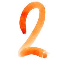Orange watercolor numbers