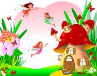 Little joyful fairies fly among flowers and a mushroom house