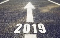road marking in form of 2019 year and arrow