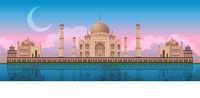 Sunset at Taj Mahal in Agra, India, panoramic vector