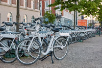Bicycle rental on the street in the city center. Bike is a popular way of transport in the city of Copenhagen in Denmark