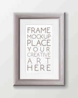 Realistic vertical gray wood frame template, frame on the wall mockup with decorative borders