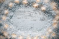 White Wooden Rustic, Christmas Background, Snow And Lights