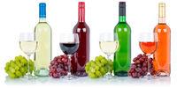 Weine Sammlung Weinflasche Weinglas Flasche Glas Weintrauben Alkohol Getränk freigestellt Freisteller