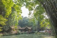 People visiting Du Fu thatched Cottage park in Chengdu