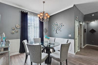Modern Contemporary Stylish Dining Room Home House Interior Furniture Luxurious Chairs Table Lights Daytime