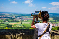 Woman tourist on the observation deck, viewing platform Hohenzollern Castle, Germany