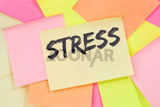 Stress stressed business concept burnout at work relaxed office note paper