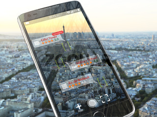 Augmented reality travel application concept.  Mobile smart phone check relevant information about landmars attractions of Paris.