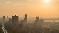 industrial city skyline in morning