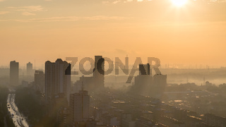 industrial city skyline in morning