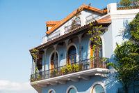 beautiful house facade, historic building exterior - Casco Viejo, Panama City,