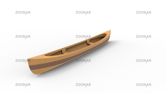 3d rendering of a canoe isolated in white studio background