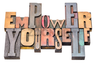 empower yourself word abstract in wood type