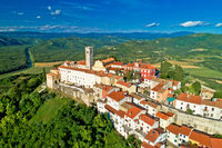 Idyllic hill town of Motovun aerial view