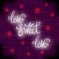 Vintage Colorful Neon Lettering. Romantic Love Quote Design