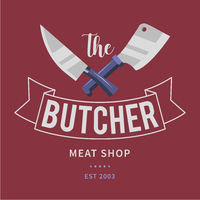 Logo of Butcher meat shop with Cleaver and Chefs knives, text the Butcher, Meat shop. Logo template for meat business - shop, market, restaurant or graphic design. Vector Illustration