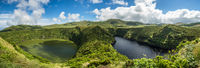 Lagoa Negra and Lagoa Comprida on the Azores island of Flores, Portugal.