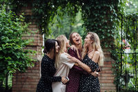 Four girls are having fun