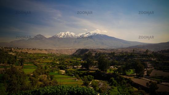 Panoramic view to Chachani mountain and Arequipa city from Yanahuara viewpoint, Arequipa, Peru