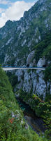 Bridge above Piva River canyon evening view in Montenegro.