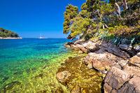 Idyllic turquoise stone beach in Cavtat