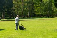 Man mowing a large lawn with trees in background