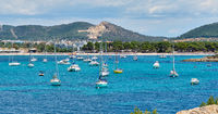 Picturesque view to the coastal town of Santa Ponsa Majorca Island, Spain