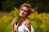 beautiful girl in field