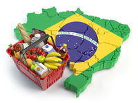Market basket or consumer price index in Brazil. Shopping basket with foods on the map of Brazil.