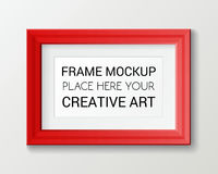 Realistic rectangular red frame template, frame on the wall mockup with decorative borders
