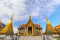 Bangkok Thailand, city skyline at Wat Phra Kaew temple
