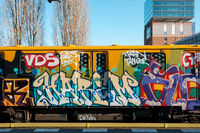 Graffiti U-Bahn / subway train at Warschauer Strasse Station  in Berlin
