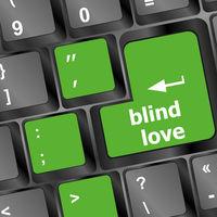 Modern keyboard key with words blind love