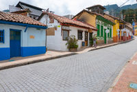 Bogota La Candelaria district colorful historic buildings
